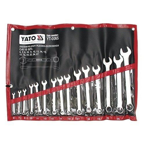 Sada klíčů očkoplochých, 15ks, 6 - 27 mm, YATO