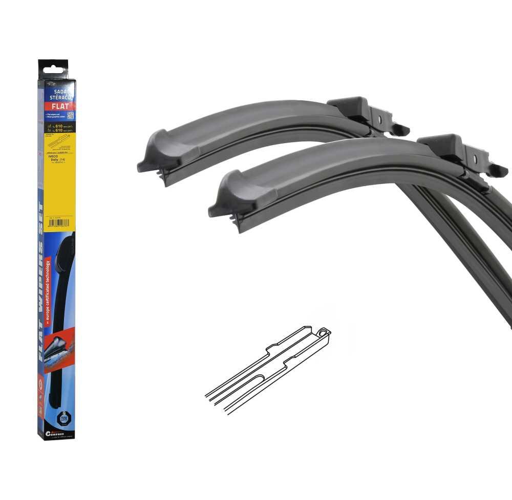 Stěrače FLAT SET (SLOT) 610+610mm