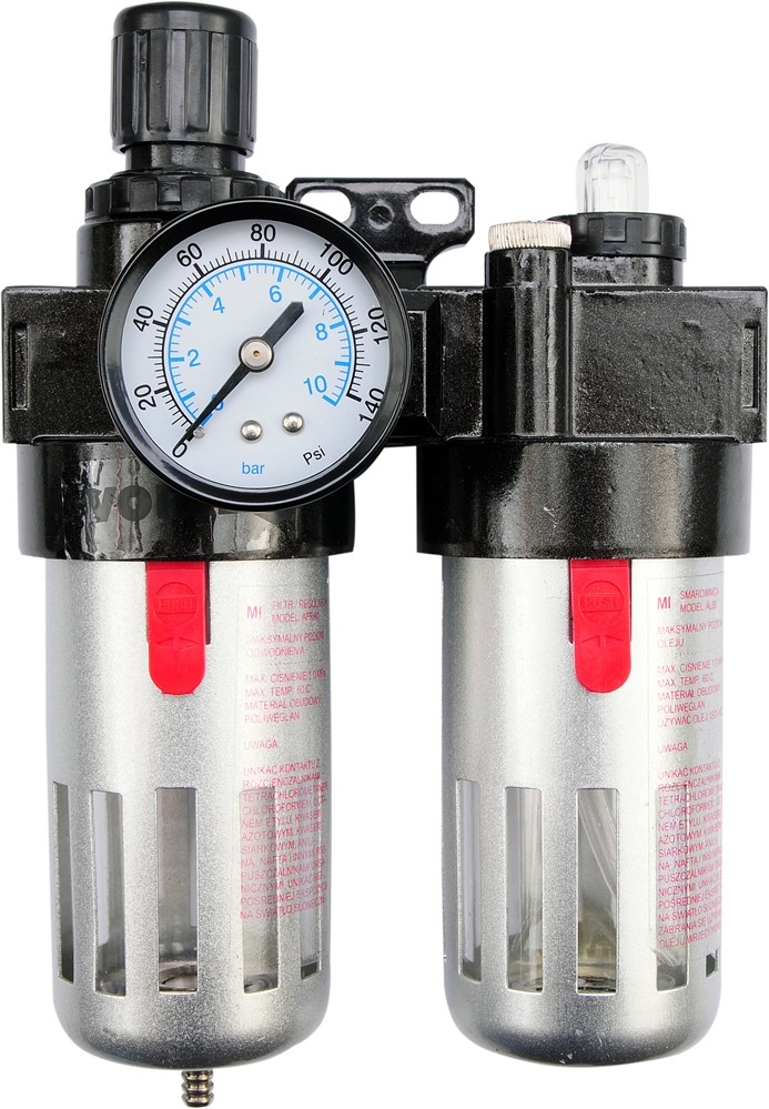Regulátor tlaku vzduchu 1/2, 0-1MPa, s filtrem a přimazáváním