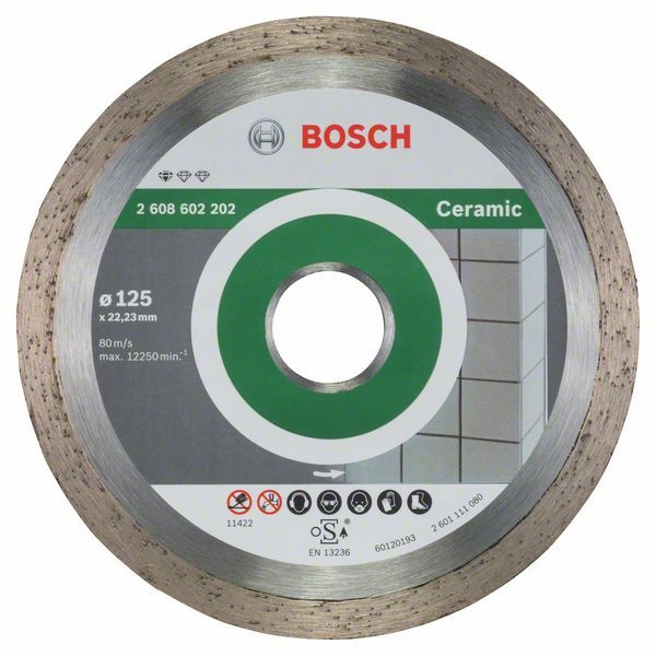 Diamantový dělicí kotouč Standard for Ceramic - 125 x 22,23 x 1,6 x 7 mm - 3165140441308 BOSCH