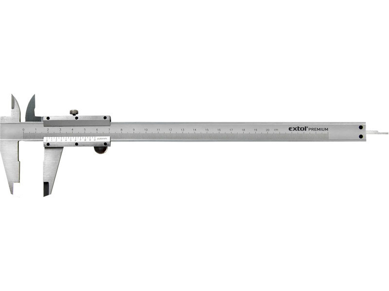 Měřítko posuvné kovové, dva typy čelistí pro různé typy měření, hloubkoměr, EXTOL CRAFT