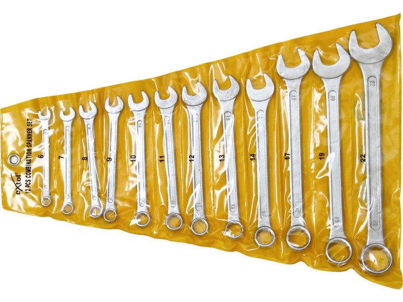 Klíče očkoploché, sada 12ks, 6-7-8-9-10-11-12-13-14-17-19-22mm, W.S., EXTOL CRAFT