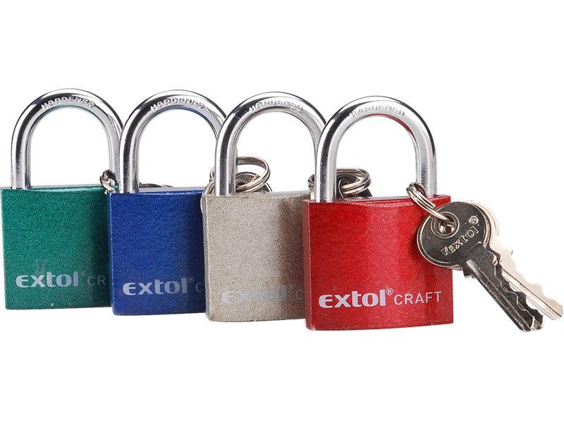 Zámek visací litinový barevný, 50mm, 3 klíče, EXTOL CRAFT