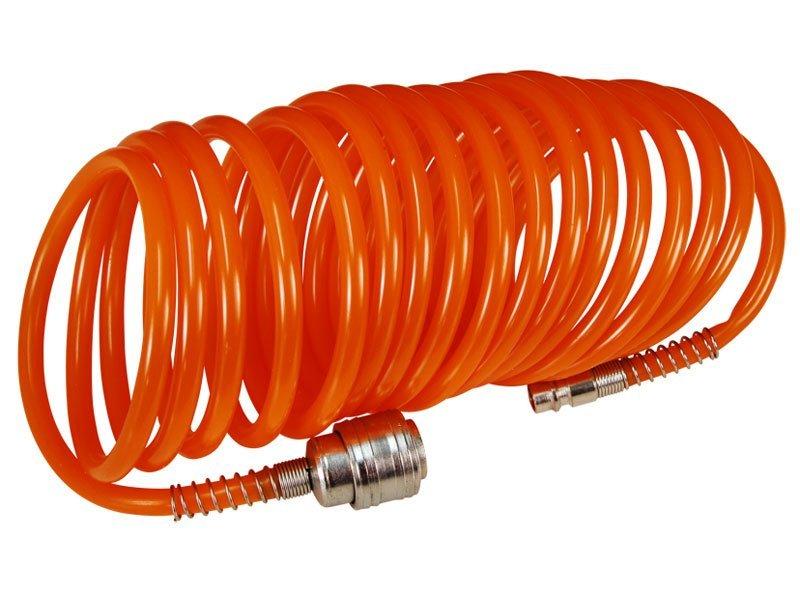 Hadice vzduchová spirálová s rychlospojkami, 1/4, O vnitřní 6mm, L 10m, EXTOL CRAFT