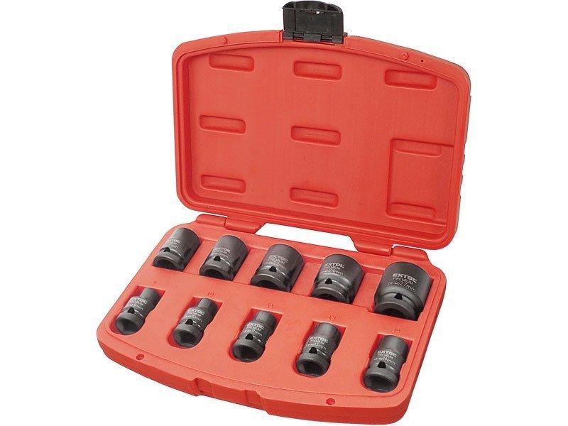 Hlavice nástrčné rázové, sada 10ks, 1/2, 9-27mm, CrMoV, EXTOL PREMIUM