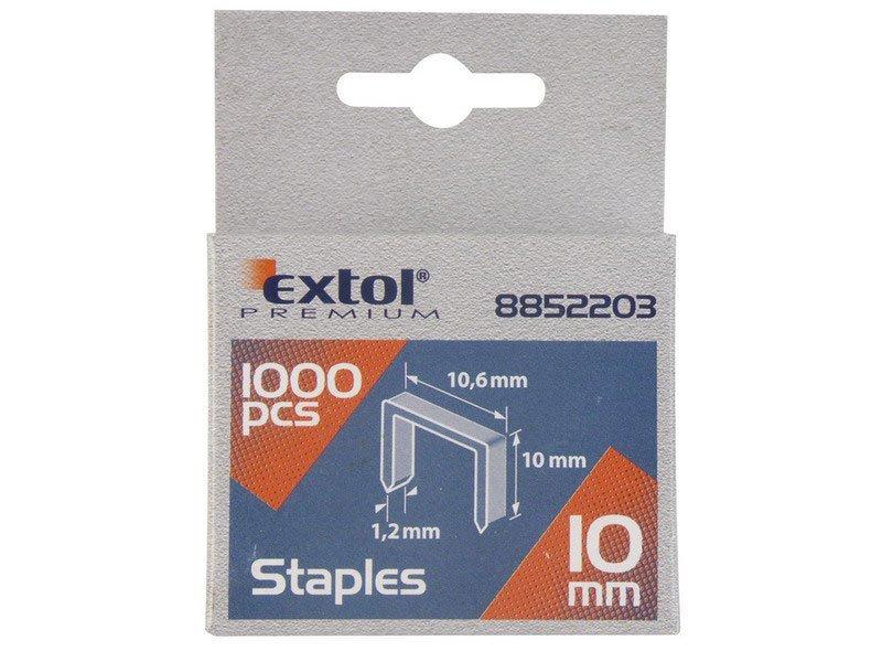 Spony, balení 1000ks, 12mm, 10,6x0,52x1,2mm, EXTOL PREMIUM