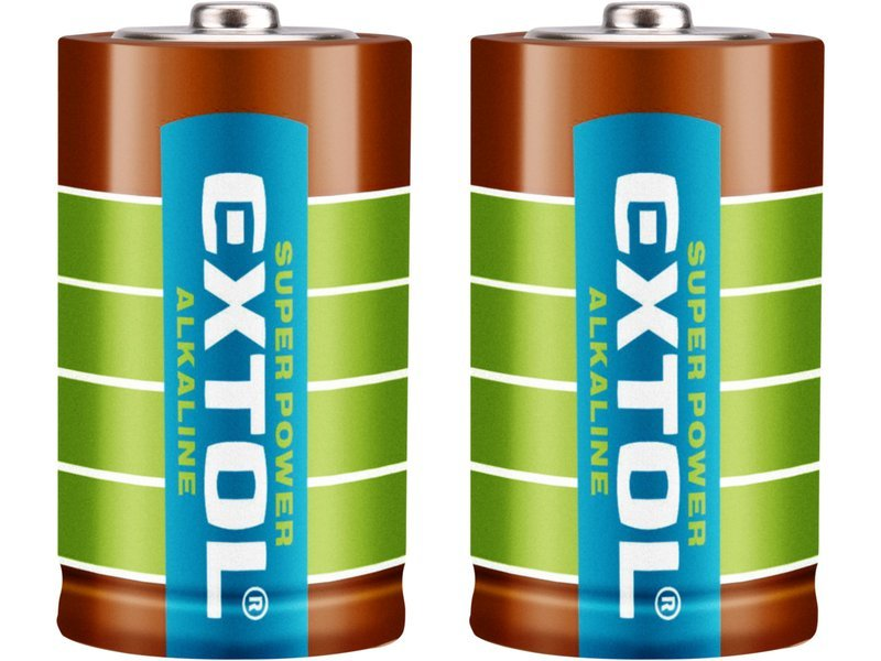Baterie alkalické, 2ks, 1,5V D (LR20), EXTOL ENERGY