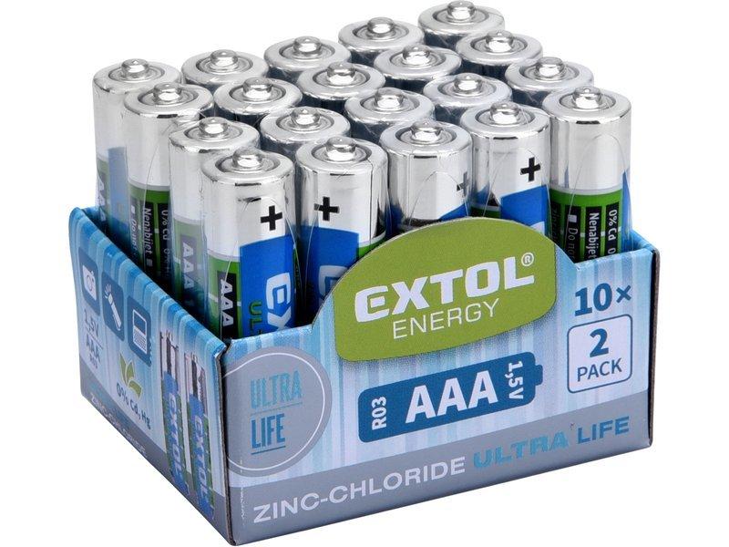 Baterie zink-chloridové, 20ks, 1,5V AAA (R03), EXTOL ENERGY