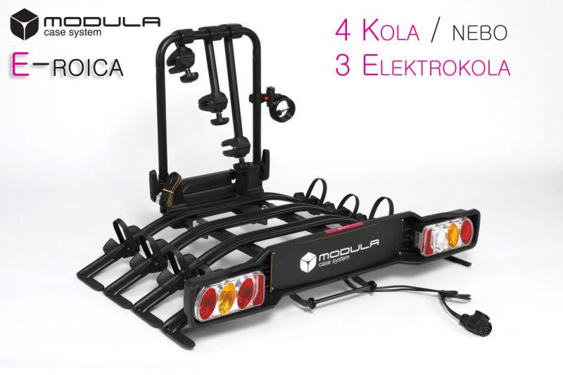 Nosič kol Modula E-ROICA - 4 kola / 3 elektrokola, na tažné zařízení