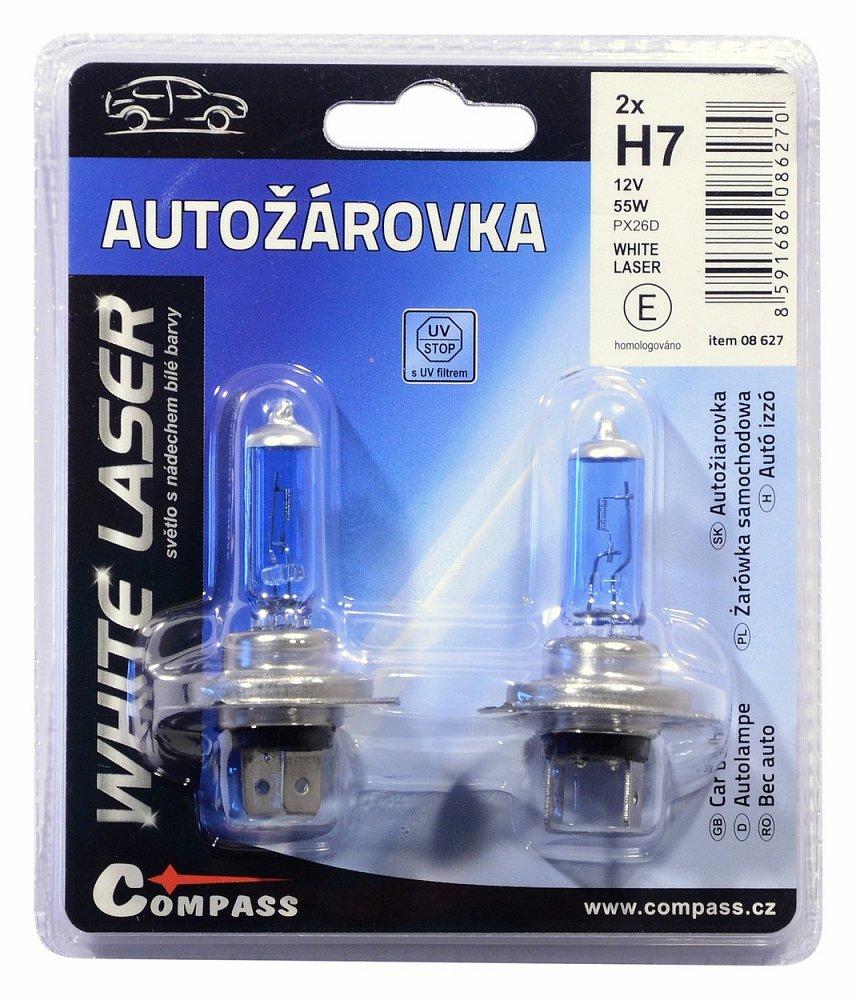 Žárovka 12V H7 55W PX26d WHITE LASER blister 2ks, COMPASS