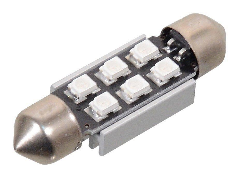 Žárovka 6 SMD LED 12V suf. SV8.5 38mm s rezistorem CAN-BUS modrá, COMPASS