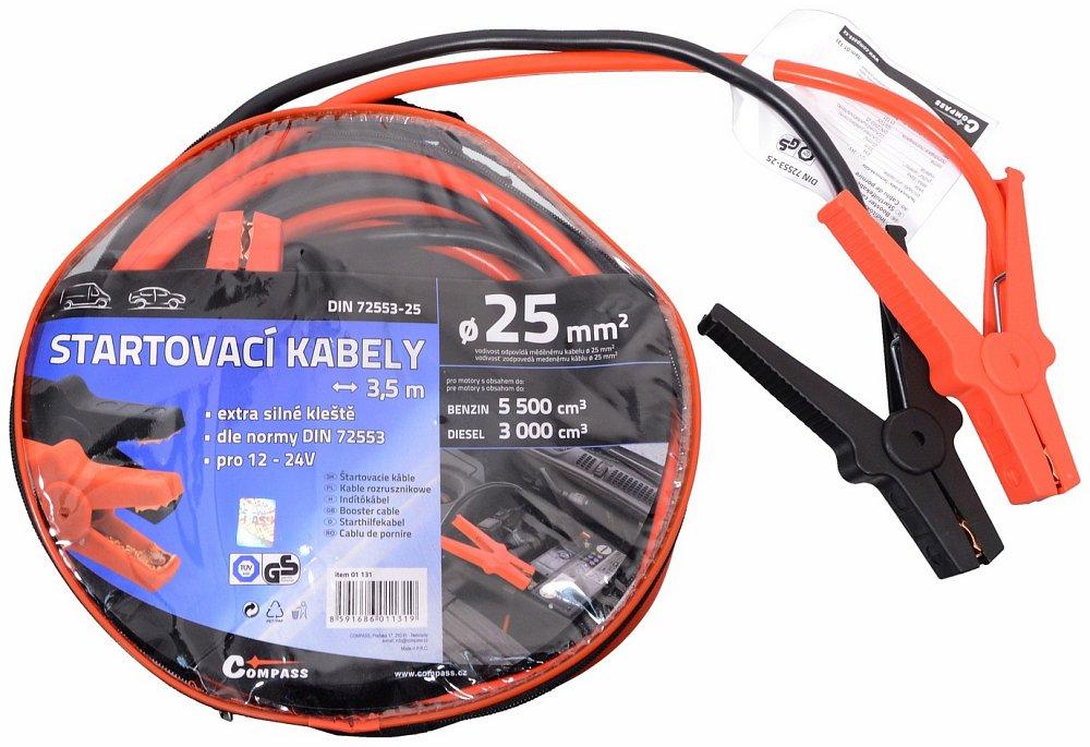 Startovací kabely 25 délka 3,5m TUV/GS DIN72553, COMPASS