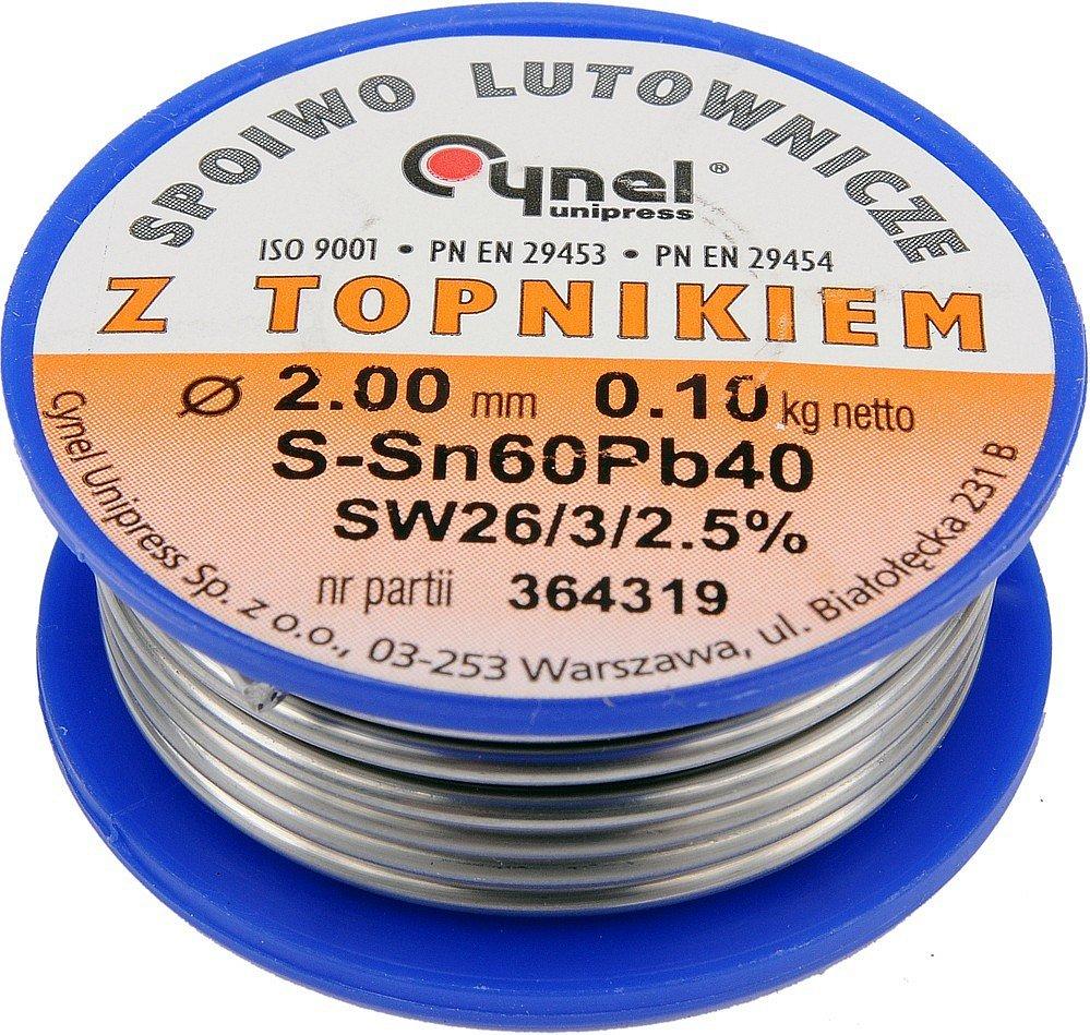Cín (pájka) pájecí 2,0mm, 100g Sn60Pb40