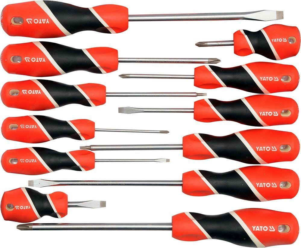Sada šroubováků 12ks, - 3-8mm, + PH0-PH3, SQ1, SQ2